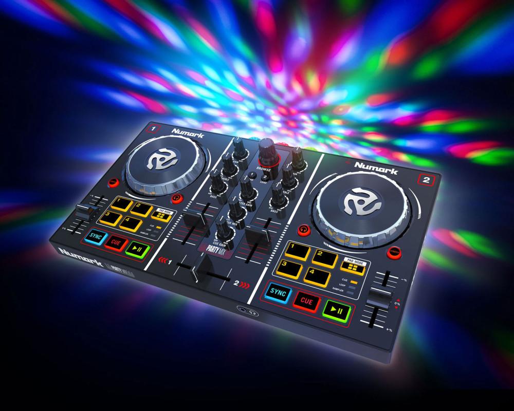numark party mix 2 channel dj controller with built in light show. Black Bedroom Furniture Sets. Home Design Ideas