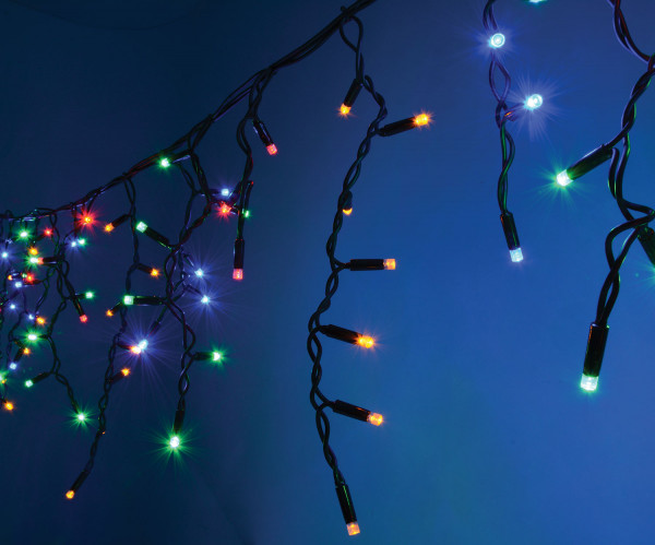 Fluxia Heavy Duty LED Icicle String Lights Multi Colour 5m (155.432UK)