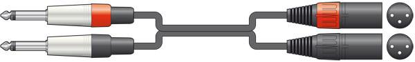 AVSL Twin 6.3mm Unbalanced Jack to Twin XLR Male Cable - 3m (190035)