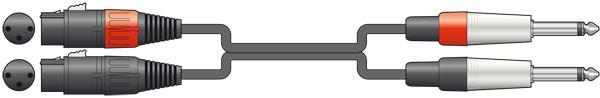 AVSL 2 x XLR Female to 2 x 6.3mm Unbalanced Jack  - 0.75m (190038)