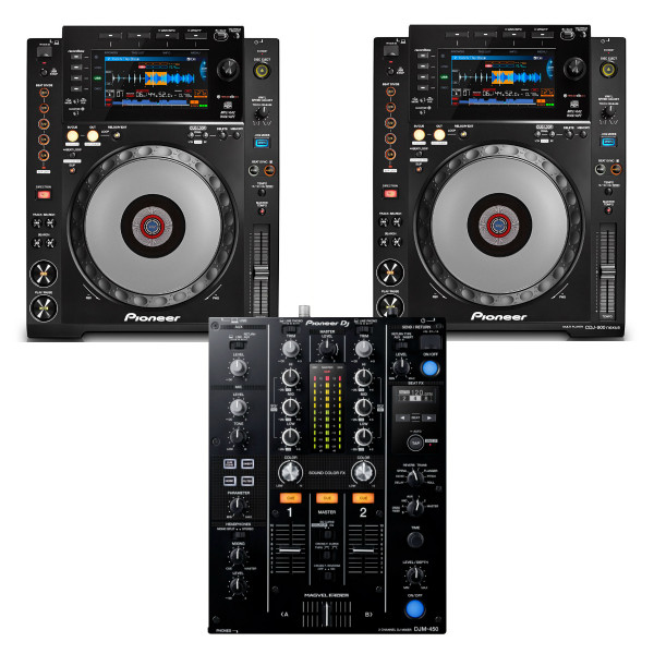 Pioneer DJ 2 x CDJ900 NEXUS + DJM450 CD Player / Mixer Bundle