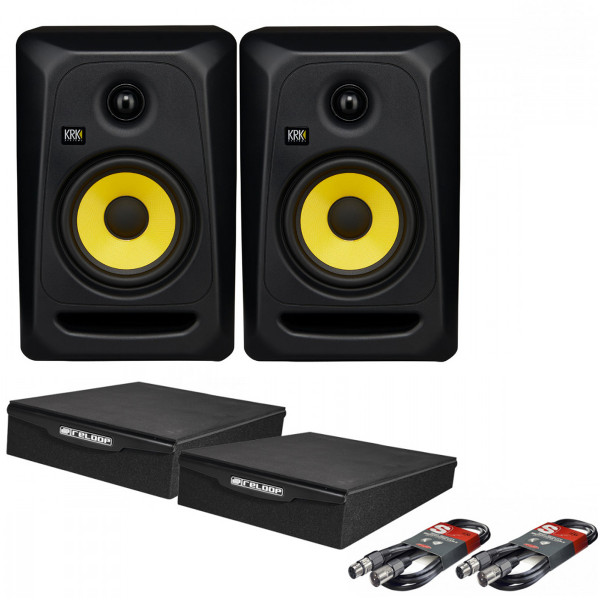 KRK Rokit Classic 5 Pair with XLR Cables & Isolation Pads