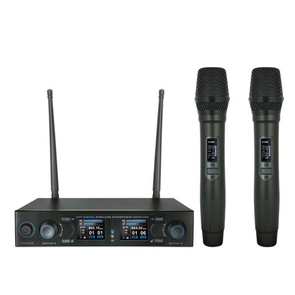 W-AUDIO DM800H Twin Handheld UHF Wireless Mic System (863.0Mhz-865.0Mhz) (MIC78)