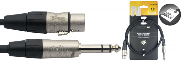 Stagg NAC1PSXFR Balanced Jack to Female XLR Cable 1m