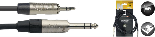 "Stagg Minijack to 1/4"" Stereo Jack Cable 3m"