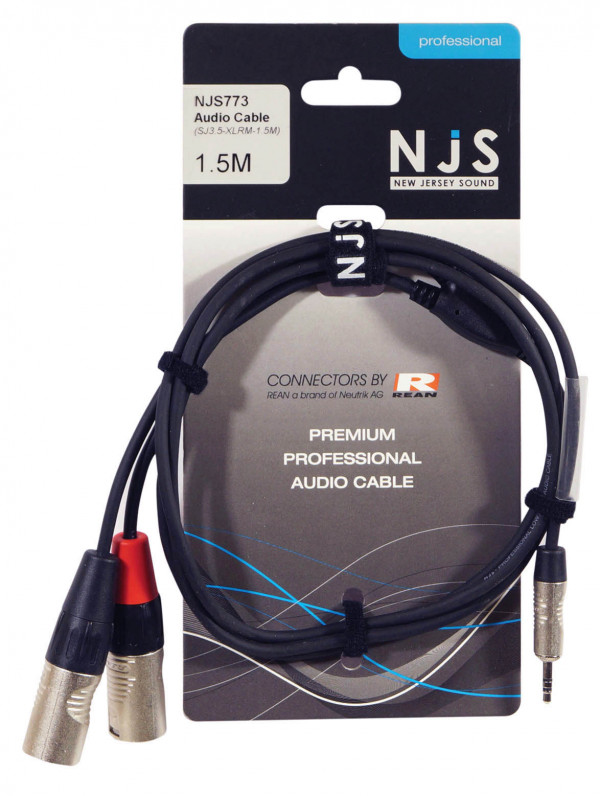 NJS NJS773 3.5mm Stereo Jack to 2 x Male XLR Cable - 1.5m