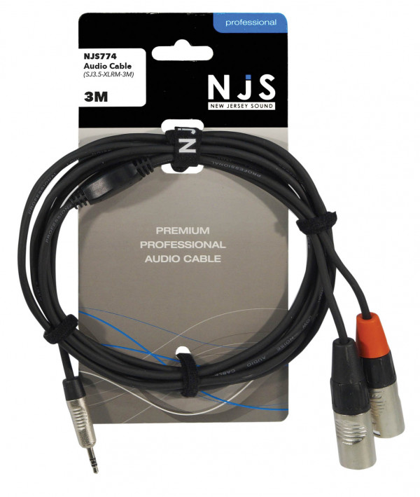 NJS NJS774 3.5mm Stereo Jack to 2 x Male XLR Cable - 3m