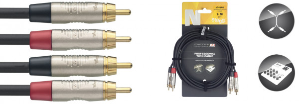 Stagg N-Series Twin RCA Cable 6m