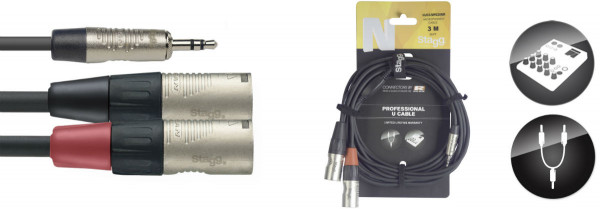 Stagg NUC3/MPS2XMR Minijack to Stereo XLR Male Cable 3m