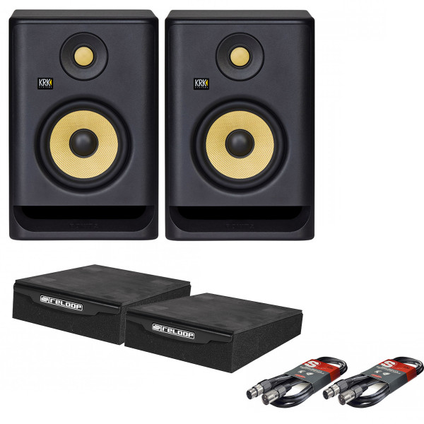KRK Rokit 5 G4 Pair with XLR Cables & Isolation Pads