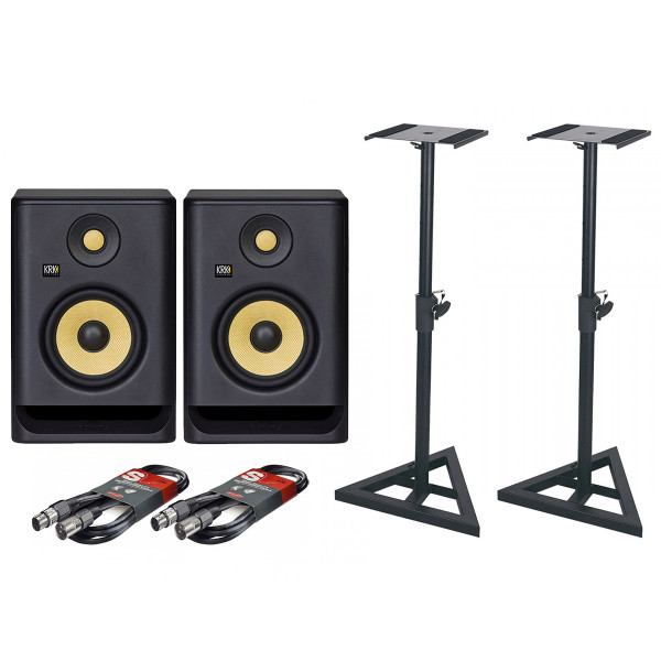 Krk Rokit 5 G4 Pair with XLR Cables & Stands