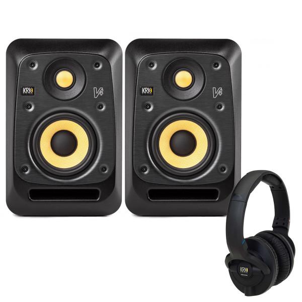 KRK V4S4 Studio Monitors with KNS6400 Headphones