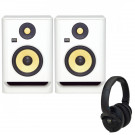 KRK Rokit 5 White Noise with KNS6400 Headphones