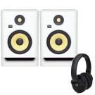 KRK Rokit 7 White Noise with KNS6400 Headphones