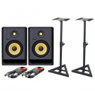 KRK Rokit 7 G4 Pair with XLR Cables & Stands