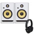 KRK Rokit 8 White Noise with KNS6400 Headphones
