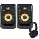 KRK V6S4 Studio Monitors with KNS6400 Headphones