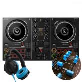 DDJ-200 + Light Blue Knobs & Faders Pack + HDJ-CUE1 Headphones