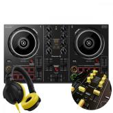 DDJ-200 + Yellow Knobs & Faders Pack + HDJ-CUE1 Headphones