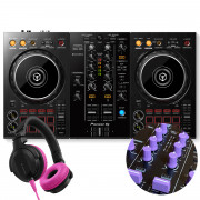 View and buy DDJ-400 + Purple Knobs & Faders Pack + HDJ-CUE1 Headphones online