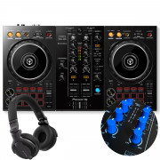View and buy DDJ-400 + Royal Blue Knobs & Faders Pack + HDJ-CUE1 Headphones online