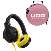 View and buy HDJ-CUE1 Yellow and UDG DIGI Headphone Bag Pink online