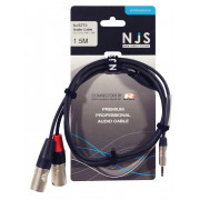 View and buy NJS NJS773 3.5mm Stereo Jack to 2 x Male XLR Cable - 1.5m online
