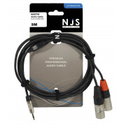 View and buy NJS NJS774 3.5mm Stereo Jack to 2 x Male XLR Cable - 3m online