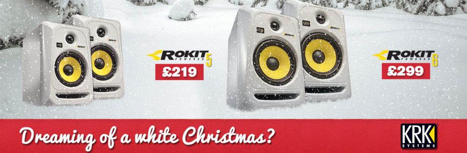 white KRK speakers